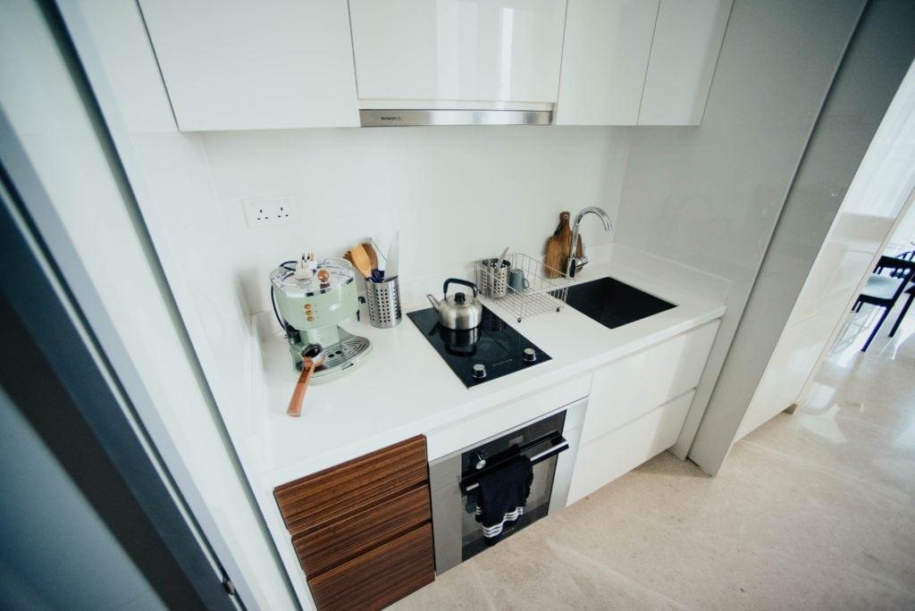 Küche mit Kochfeld von oben
