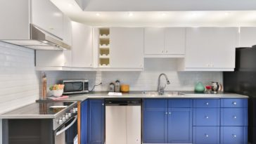 Blaue Küche mit silbernem Geschirrspüler